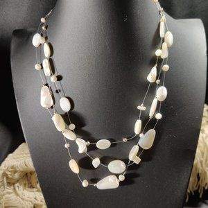 Jewelry - Illusion Mother of Pearl 3Strand Necklace Floating